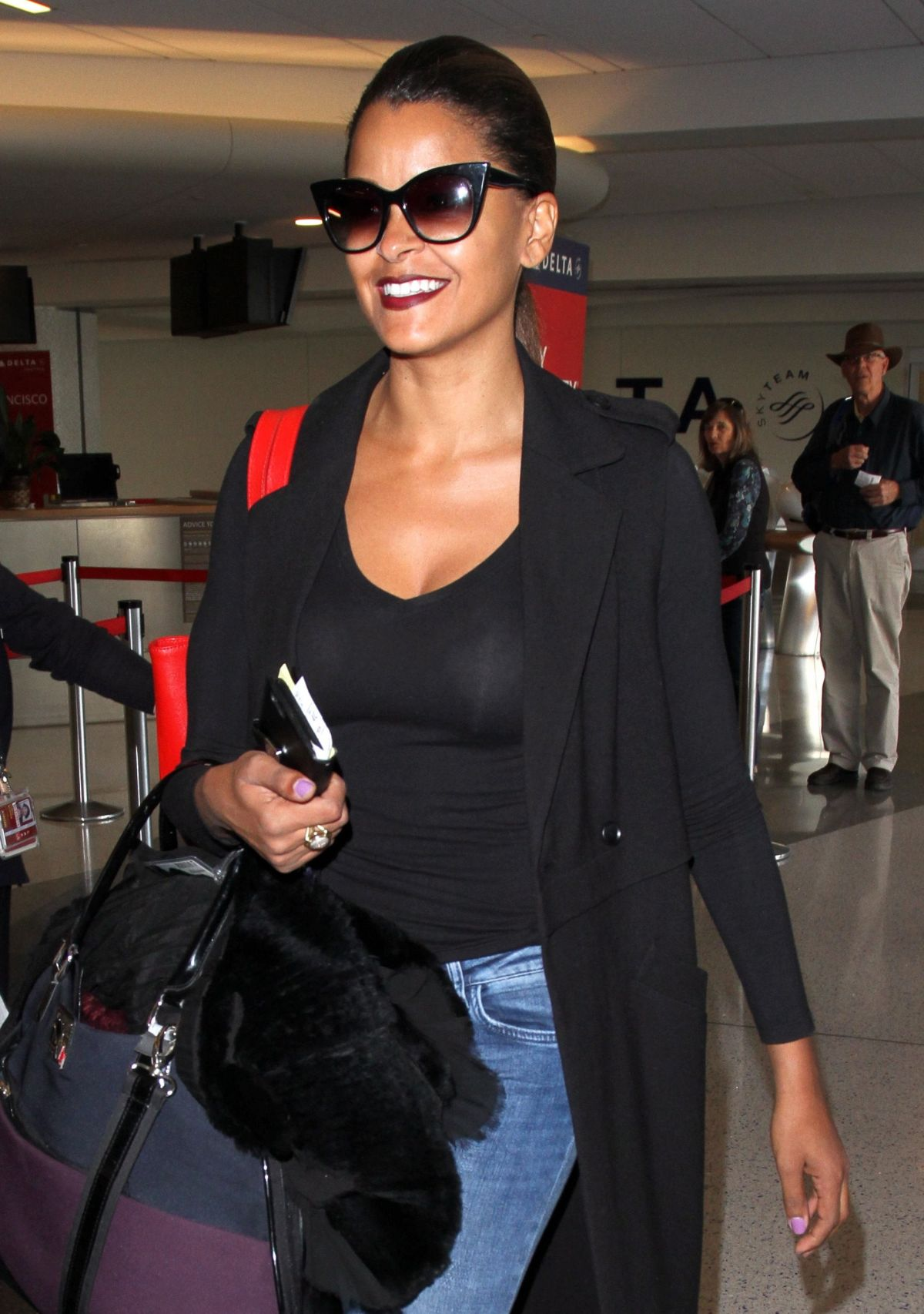 CLAUDIA JORDAN at LAX Airport in Los Angeles 02/09/2016