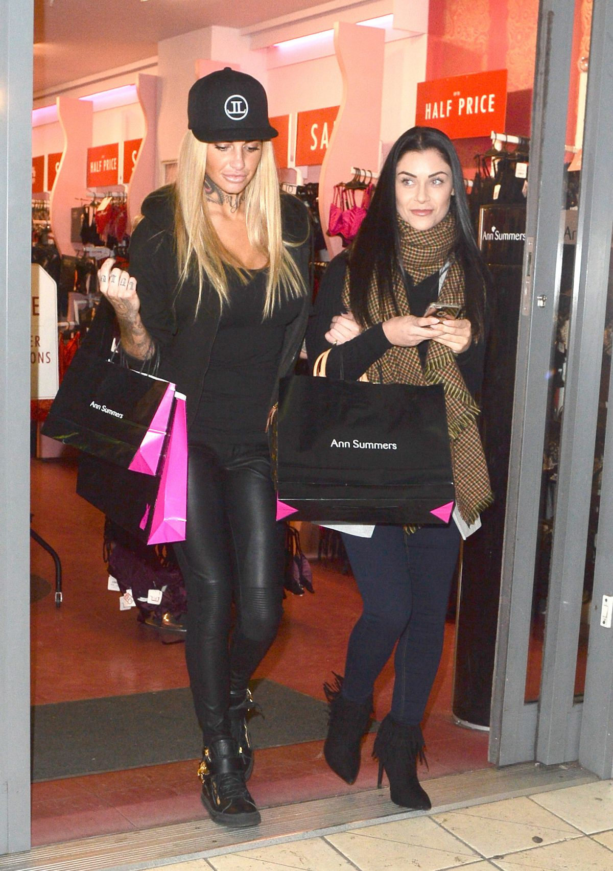 JEMMA LUCY and CALY BEECH Leaves Ann Summers Store in London 01/30/2016