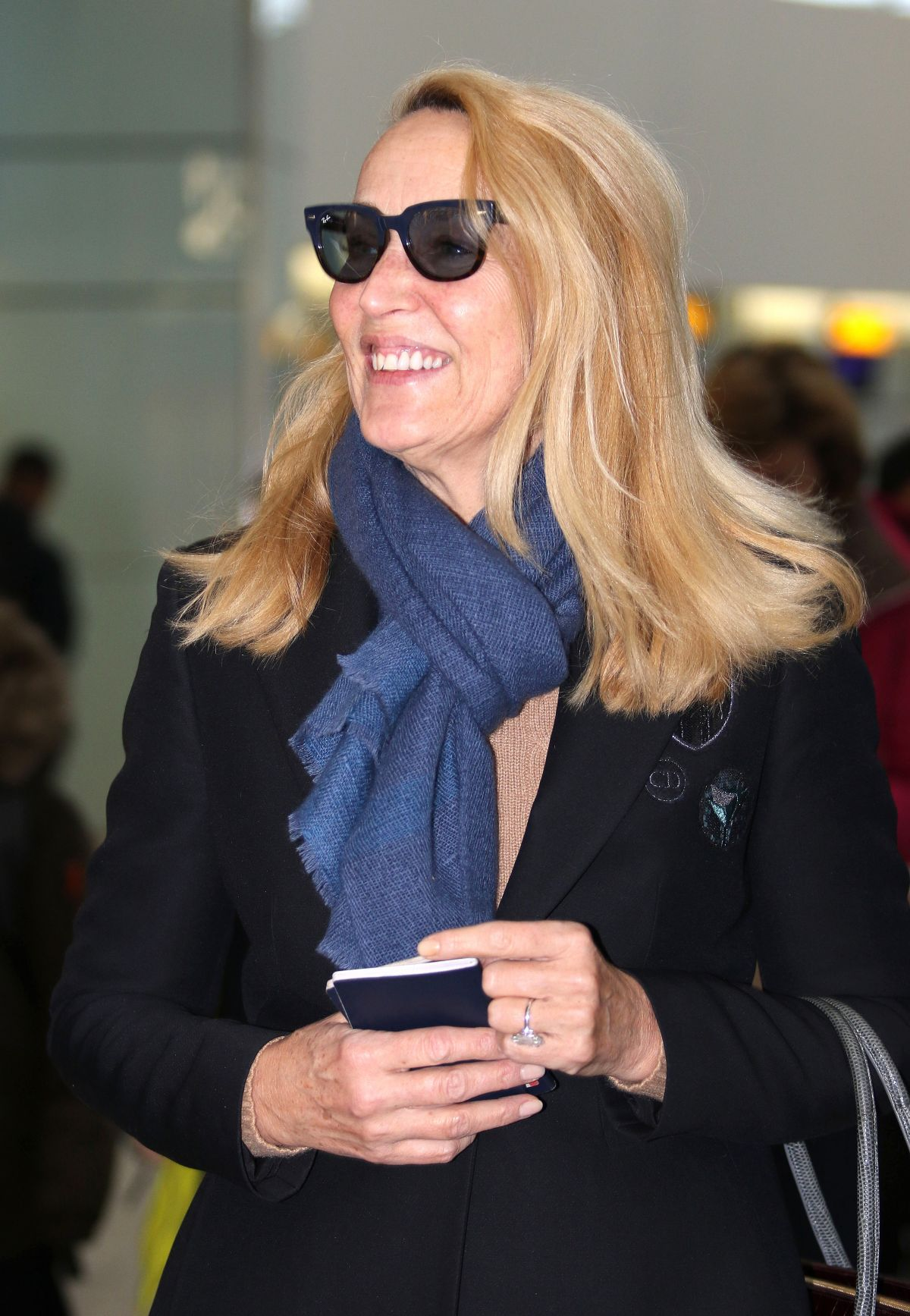 JERRY HALL at Heathrow Airport in London 02/12/2016