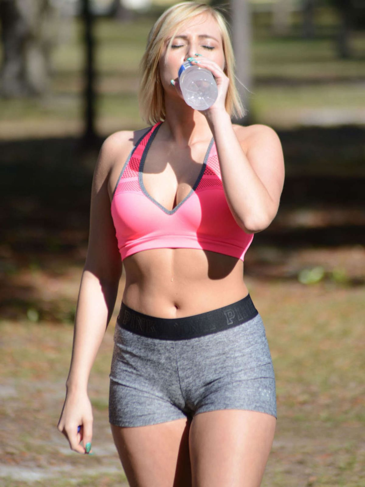 KATE ENGLAND Working Out at a Park in Miami 02/24/2016