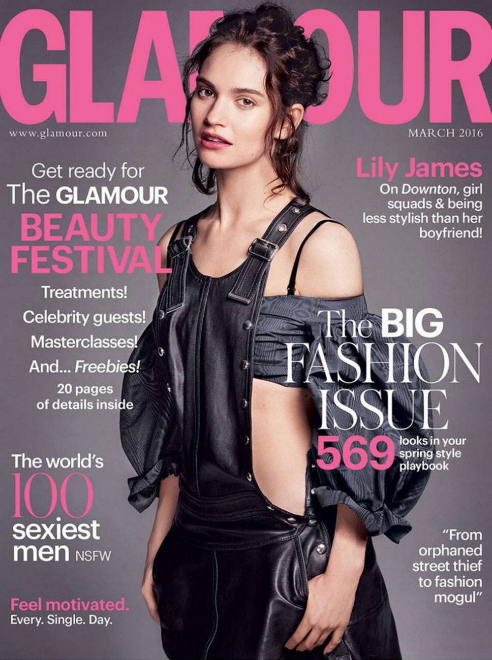 LILY JAMES in Glamour Magazine, March 2016 Issue