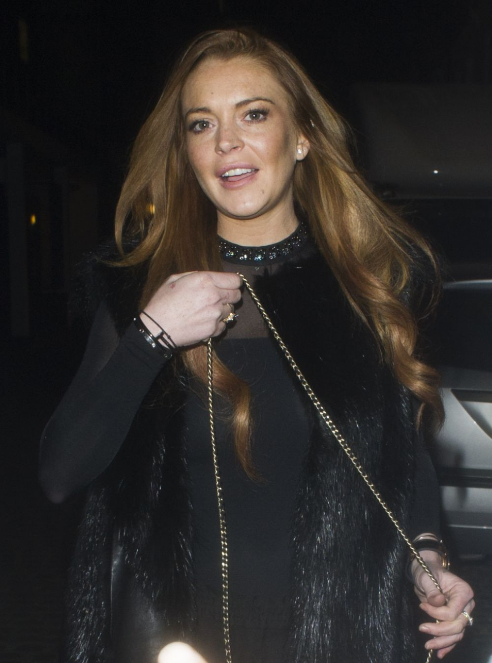 LINDSAY LOHAN at Chiltern Firehouse in London 02/13/2016