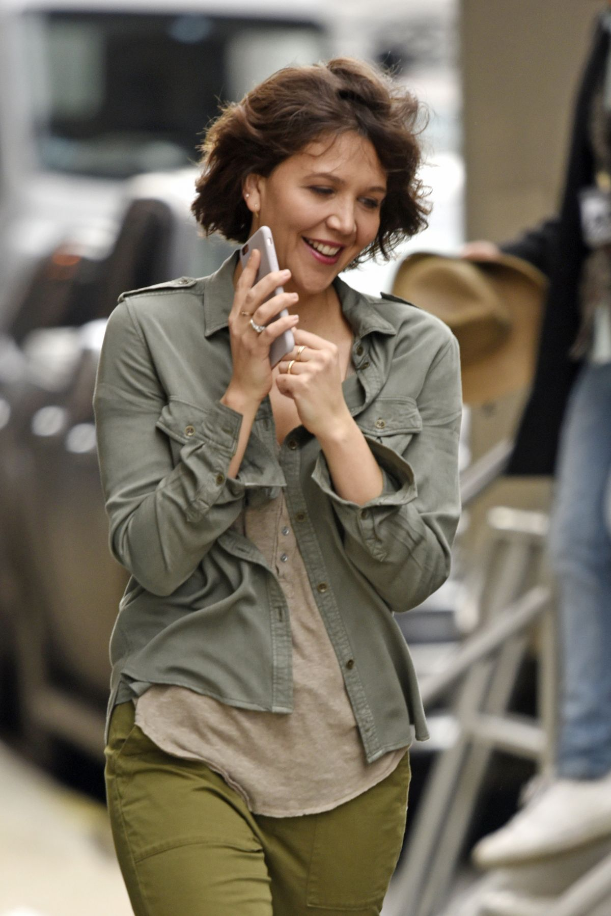 MAGGIE GYLLENHAAL Arrives at Inside Amy Schumer Set in New York Maggie Gyllenhaal