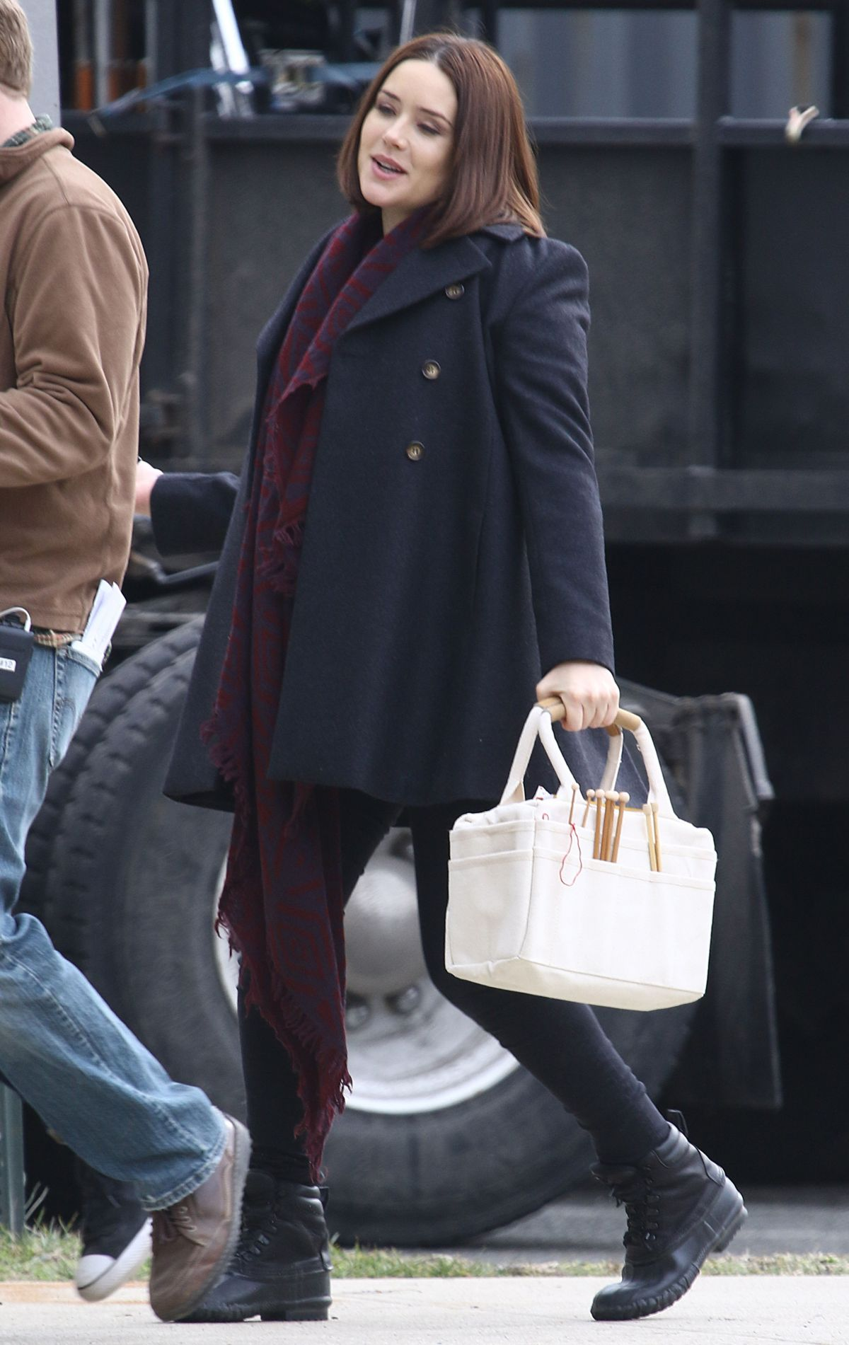 MEGAN BOONE on the Set of The Blacklist in New York 02/04/2016