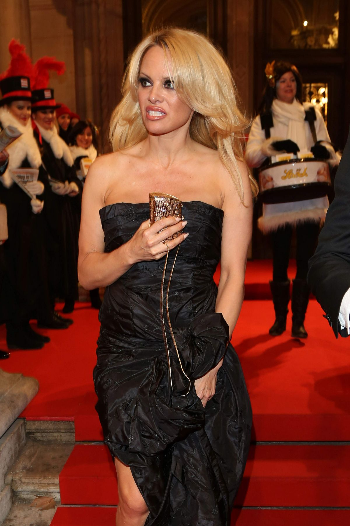 PAMELA ANDERSON Leaves Opera Ball Vienna 2016 at The Grand Hotel 02/04 ... Pamela Anderson