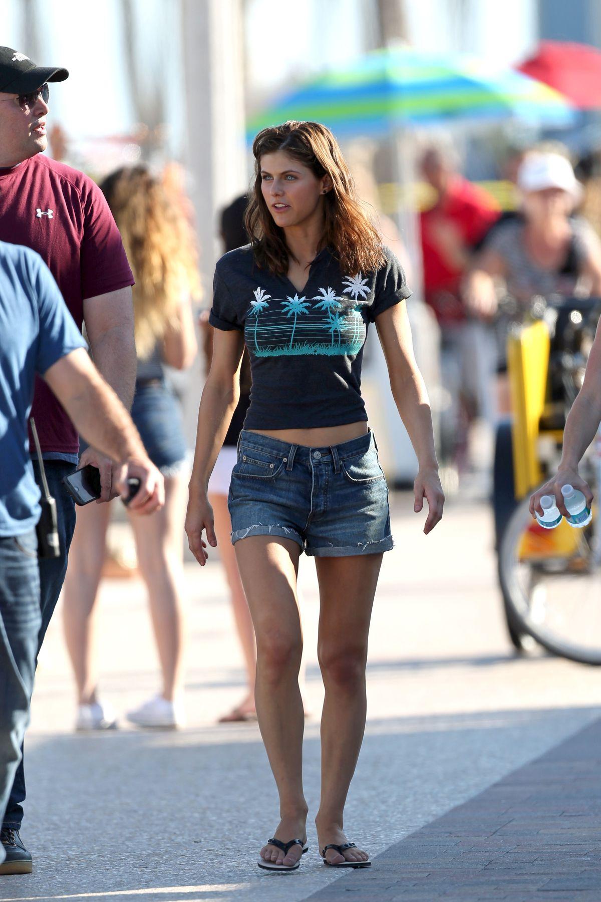 Alexandra Daddario In Denim Shorts Out At Deerfield Beach