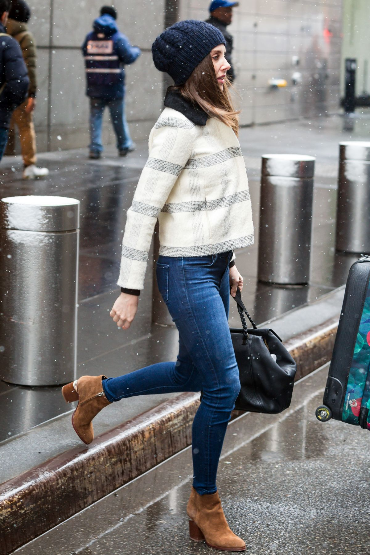 ALISON BRIE Out and About in New York 03/04/2016
