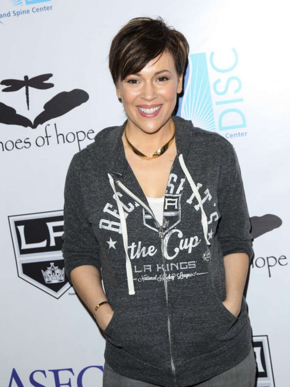 ALYSSA MILANO at Luc Robitaille Celebrity Ahootout in El Segundo 03/20/2016