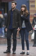 DAKOTA JOHNSON and Jamie Dornan on the Set of 'Fifty Shades Darker' in Vancouver 03/02/2016