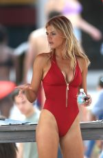 KELLY ROHRBACH in Red Swimsuit on Set of Baywatch 03/04/2016