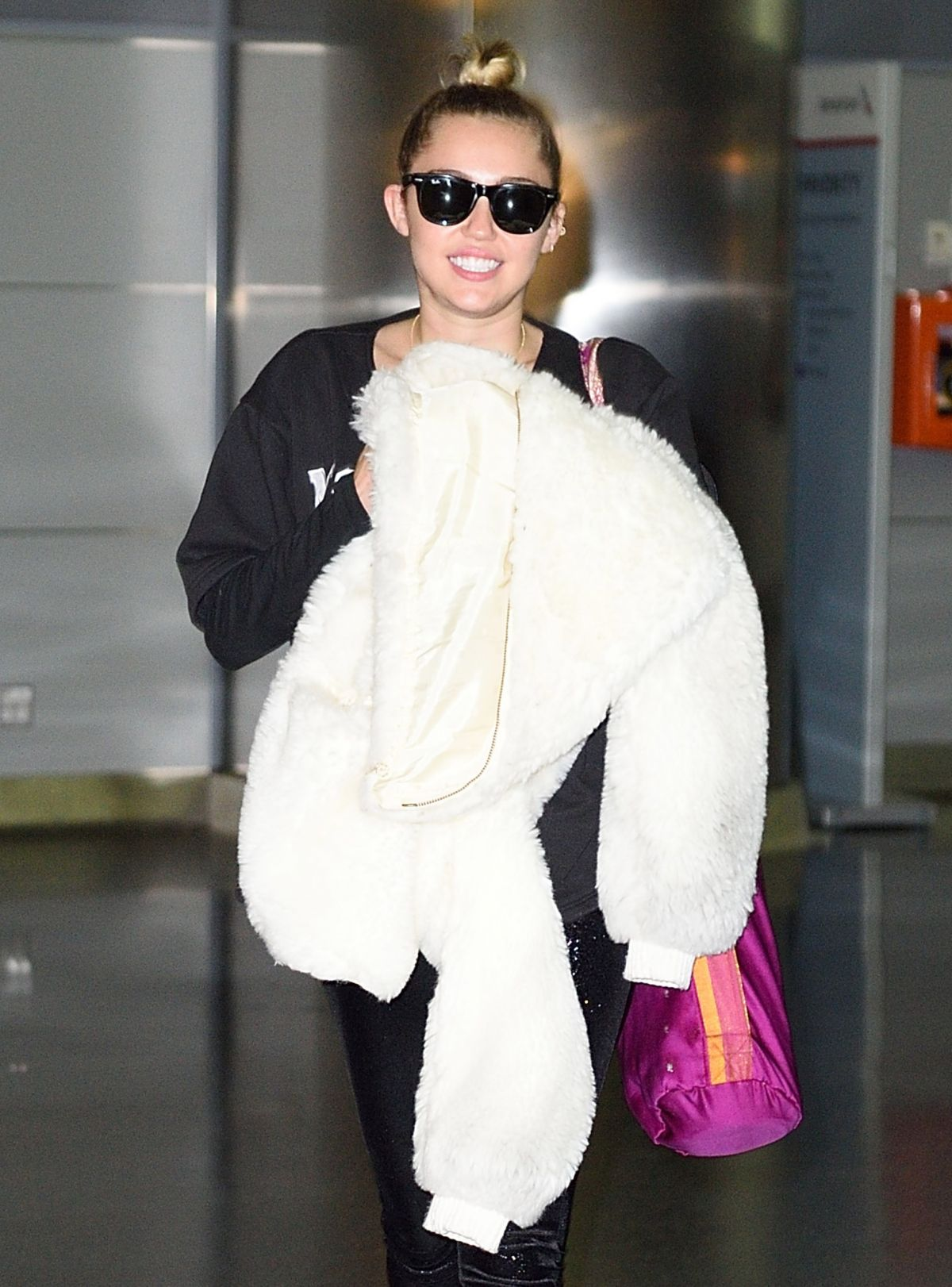 MILEY CYRUS at HFK Airport in New York 02/27/2016