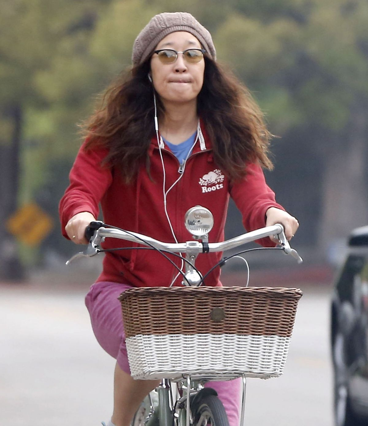 SANDRA OH on a Bike Ride in Los Angeles 03/03/2016
