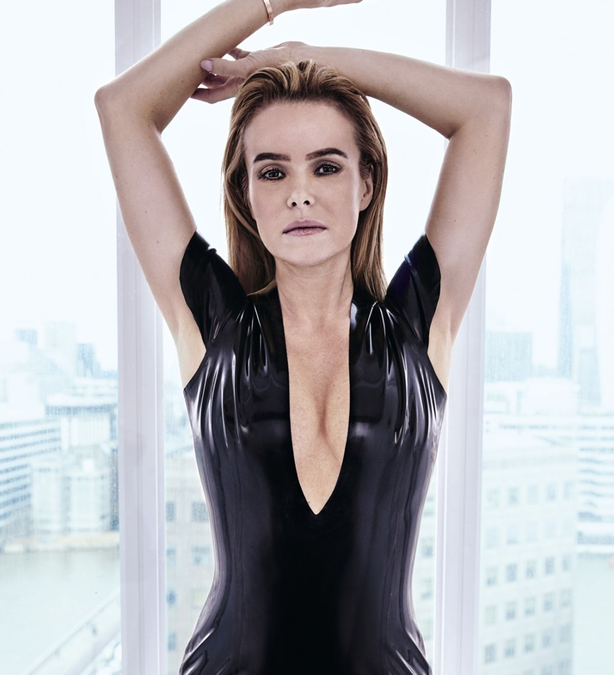 465aba473c99a AMANDA HOLDEN in a Black Swimsuit on the Set of a Photoshoot 04 02 ...