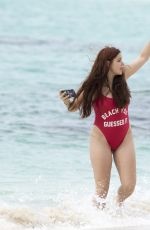 ARIEL WINTER in Red Swimsuit at a Beach in Bahamas  04/06/2016