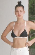 BELLA HADID in Bikini Top at a Pool in St. Barts 04/01/2016