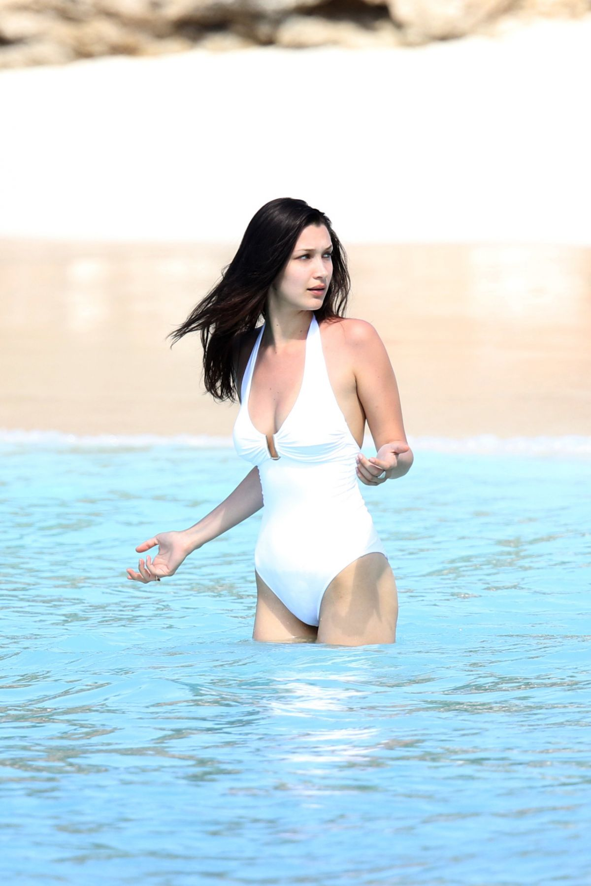 BELLA HADID in Swimsuit at a Beach in St. Barts 04/02/2016