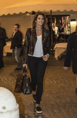 CINDY CRAWFORD at Da Pierluigi Restaurant in Rome 04/26/2016