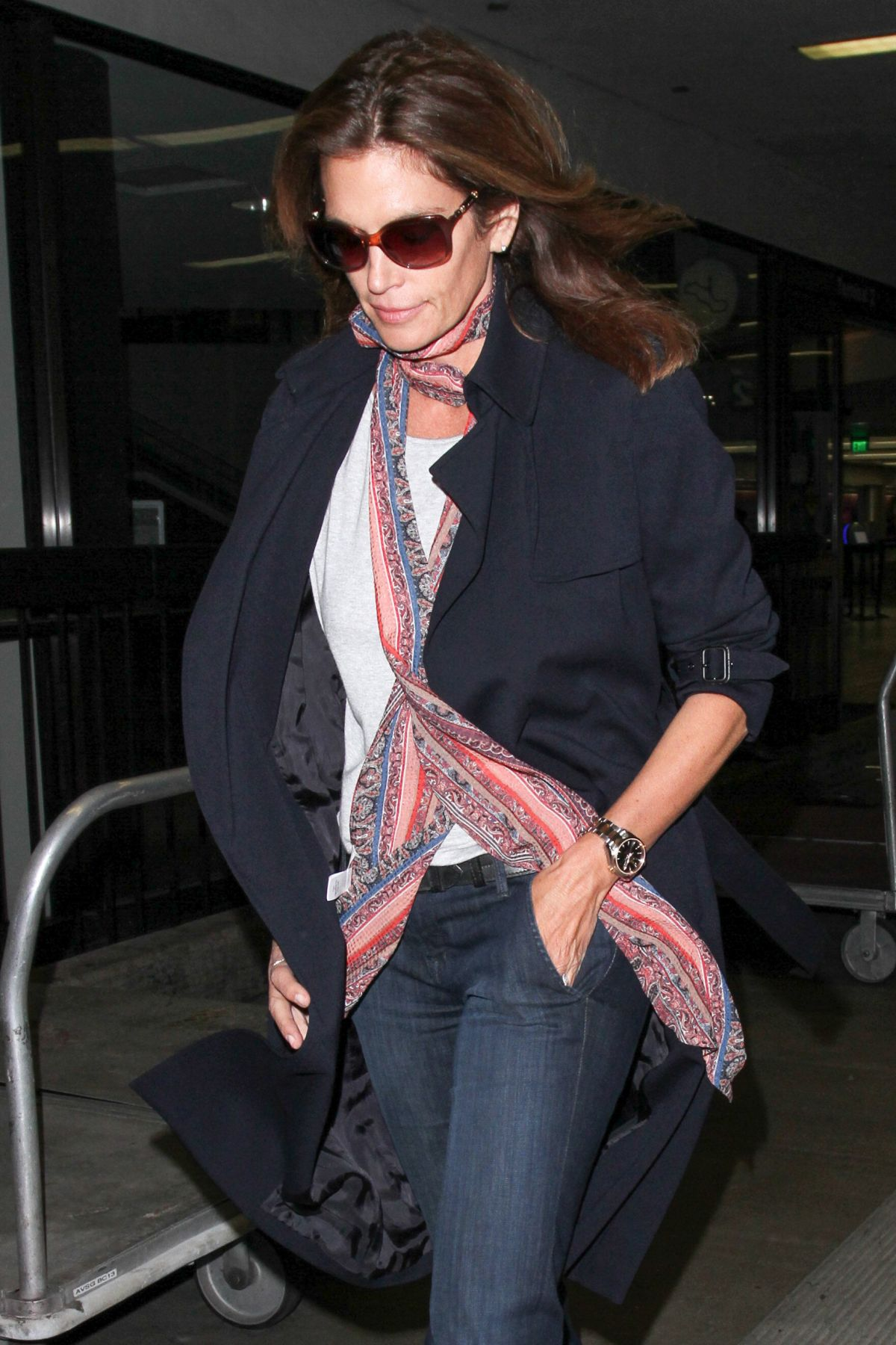 CINDY CRAWFORD at Los Angeles International Airport 04/21/2016