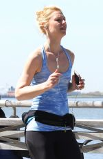 CLAIRE DANES Out Jogging in New York 04/18/2016