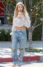 HAILEY BALDWIN in Ripped Jeans Out in Los Angeles 04/13/2016