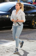 HILARY DUFF in Jeans Leaves a Nail Salon in Beverly Hills 04/26/2016