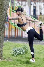 JEMMA LUCY Working Out at a Park in Manchester 03/28/2016