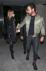 JENNIFER ANISTON and Justin Theroux at Palm Restaurant in Beverly Hills 04/10/2016