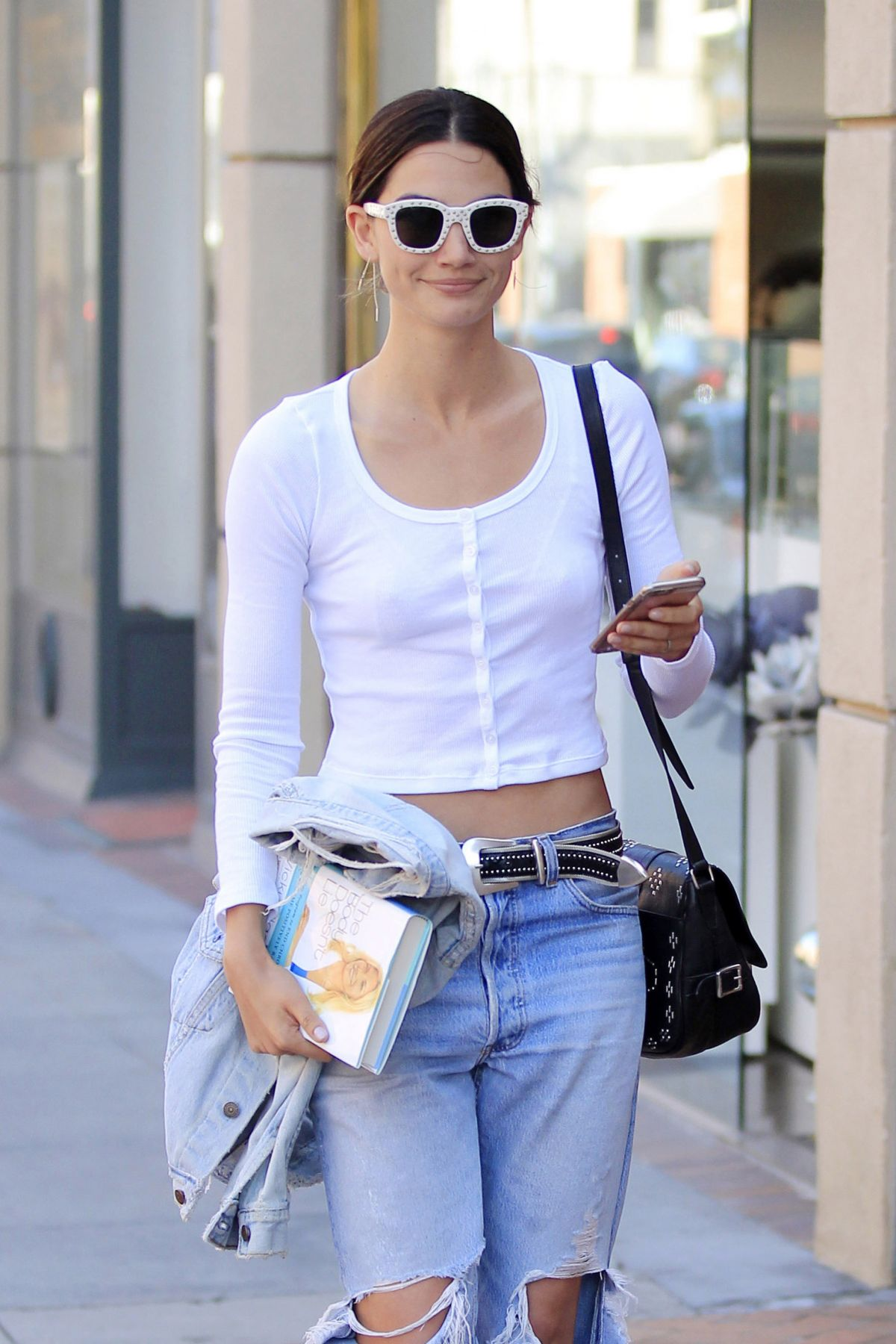 LILY ALDRIDGE in RIpped Jeans Out in Beverly Hills 04/28/2016