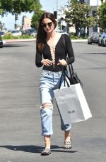 LILY ALDRIDGE in Ripped Jeans Out in West Hollywood 04/22/2016