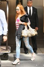 LINDSAY LOHAN Leaves Her Hotel in New York 04/19/2016