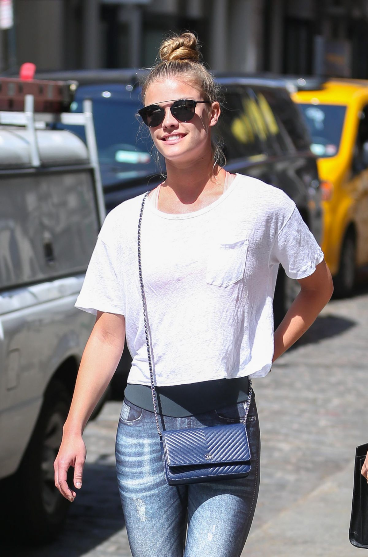 NINA AGDAL Out and About in New York 04/19/2016