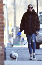 OLIVIA PALERMO Walks Her Dog Out in New York 04/13/2016