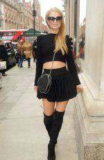 PARIS HILTON in Short Skirt Out in London 04/28/2016