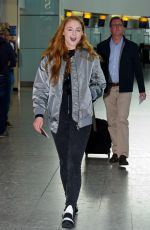 SOPHIE TURNER at Heathrow Airport in London 04/08/2016