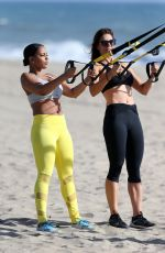 SUNDY CARTER Works Out with Natasha Fett at a Beach in Malibu 03/23/2016