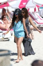VANESSA and STELLA HUDGENS at a Beach in Miami 04/08/2016