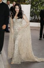 AISHWARYA RAI Leaves Martinez Hotel in Cannes 05/14/2016