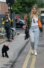 ASHLEY JAMES Walks Her Dog Out in London 05/13/2016