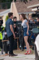 BELLA THORNE in Mini Skirt on the Set of