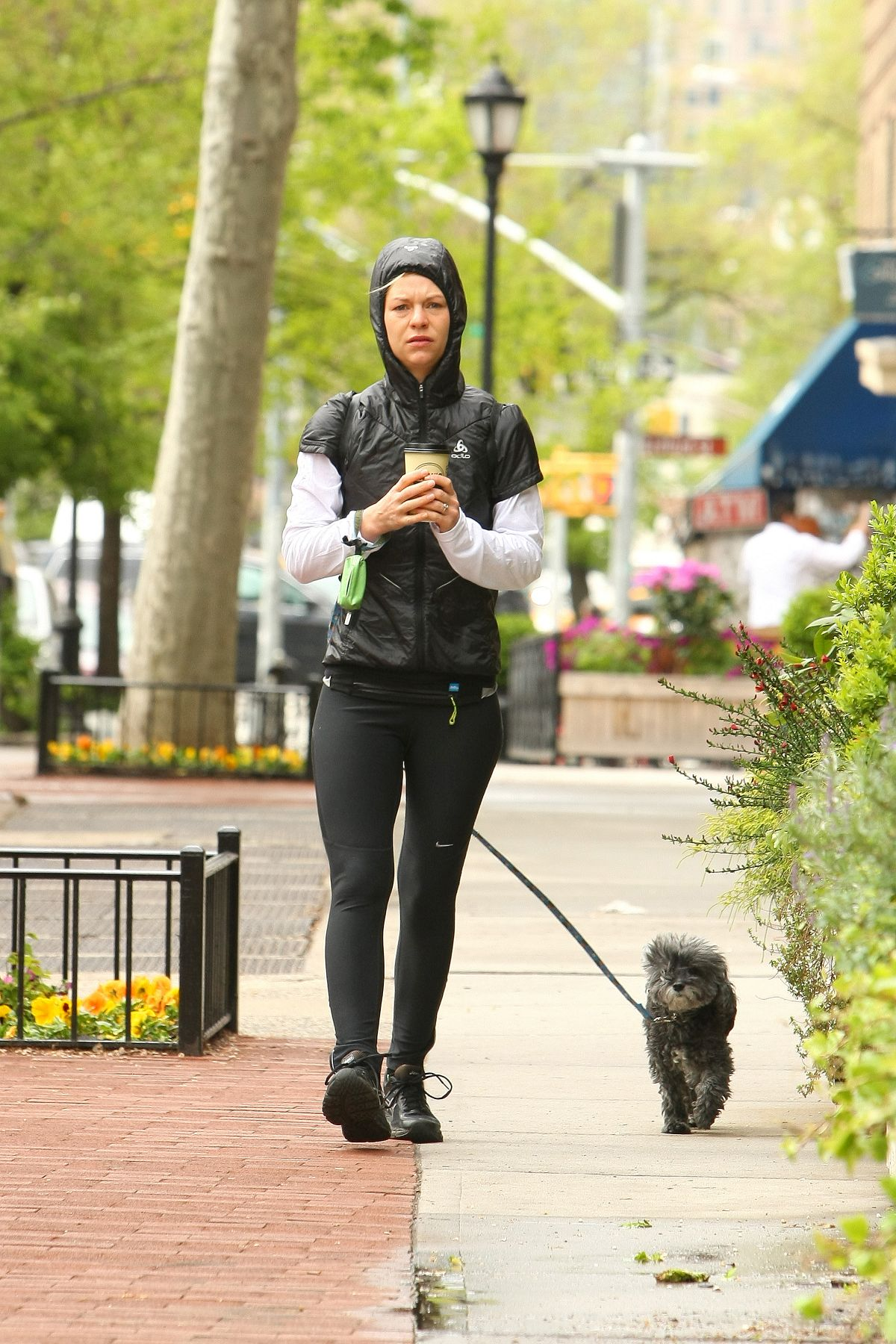 CLAIRE DANES Walks Her Dog Out in New York 05/04/2016