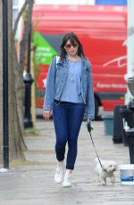DAISY LOWE Walks Her DOg Out in Primrose Hill 04/26/2016