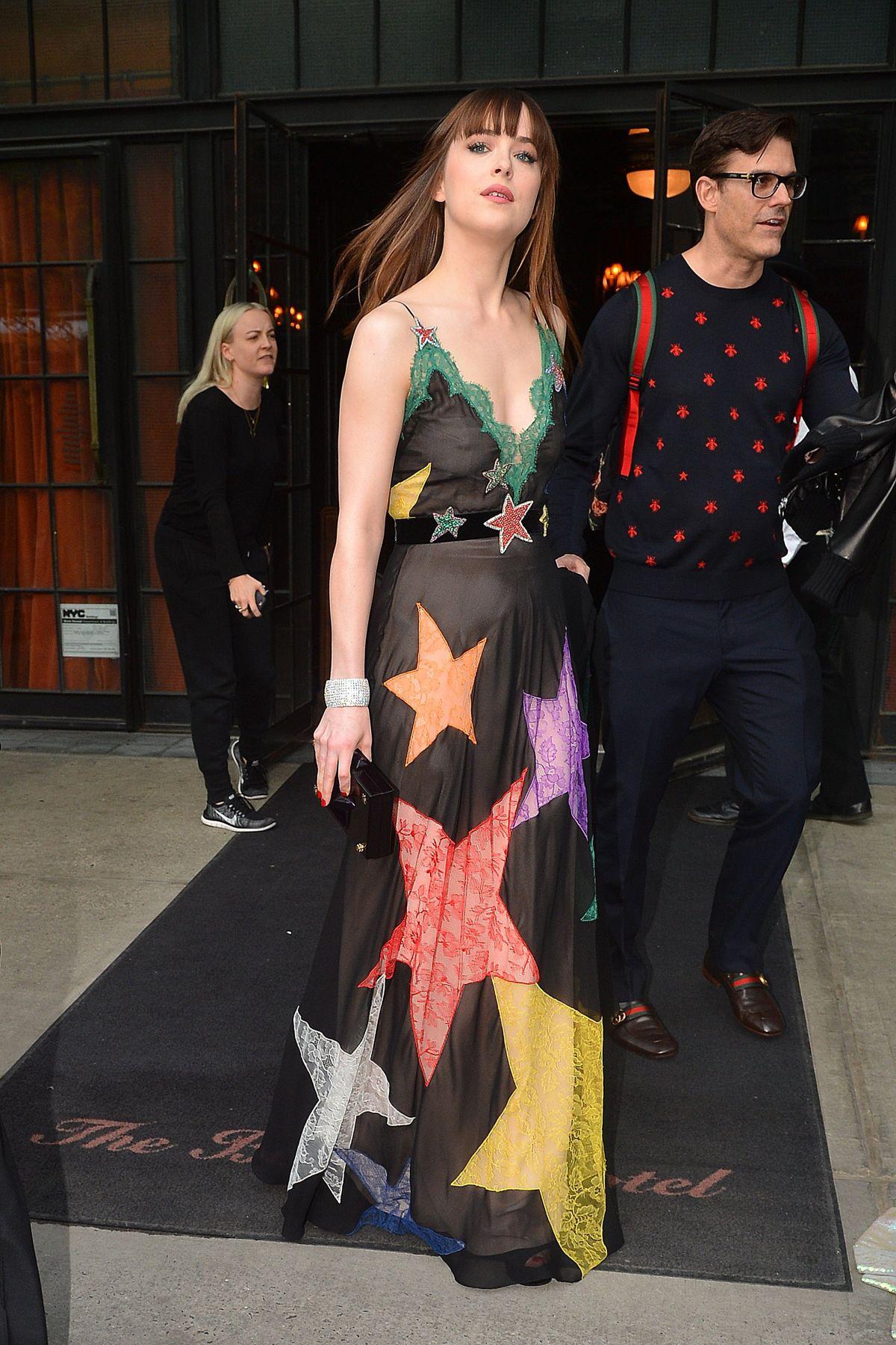 DAKOTA JOHNSON Leaves Her Hotel in New York 05/02/2016