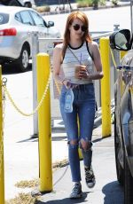 EMMA ROBERTS in Ripped Jeans Out for Coffee in Los Angeles 05/12/2016