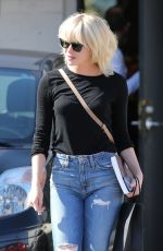 EMMA STONE in Ripped Jeans Out in Beverly Hills 05/21/2016