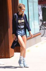 GIGI HADID in Denim Shorts Out and About in New York 05/11/2016