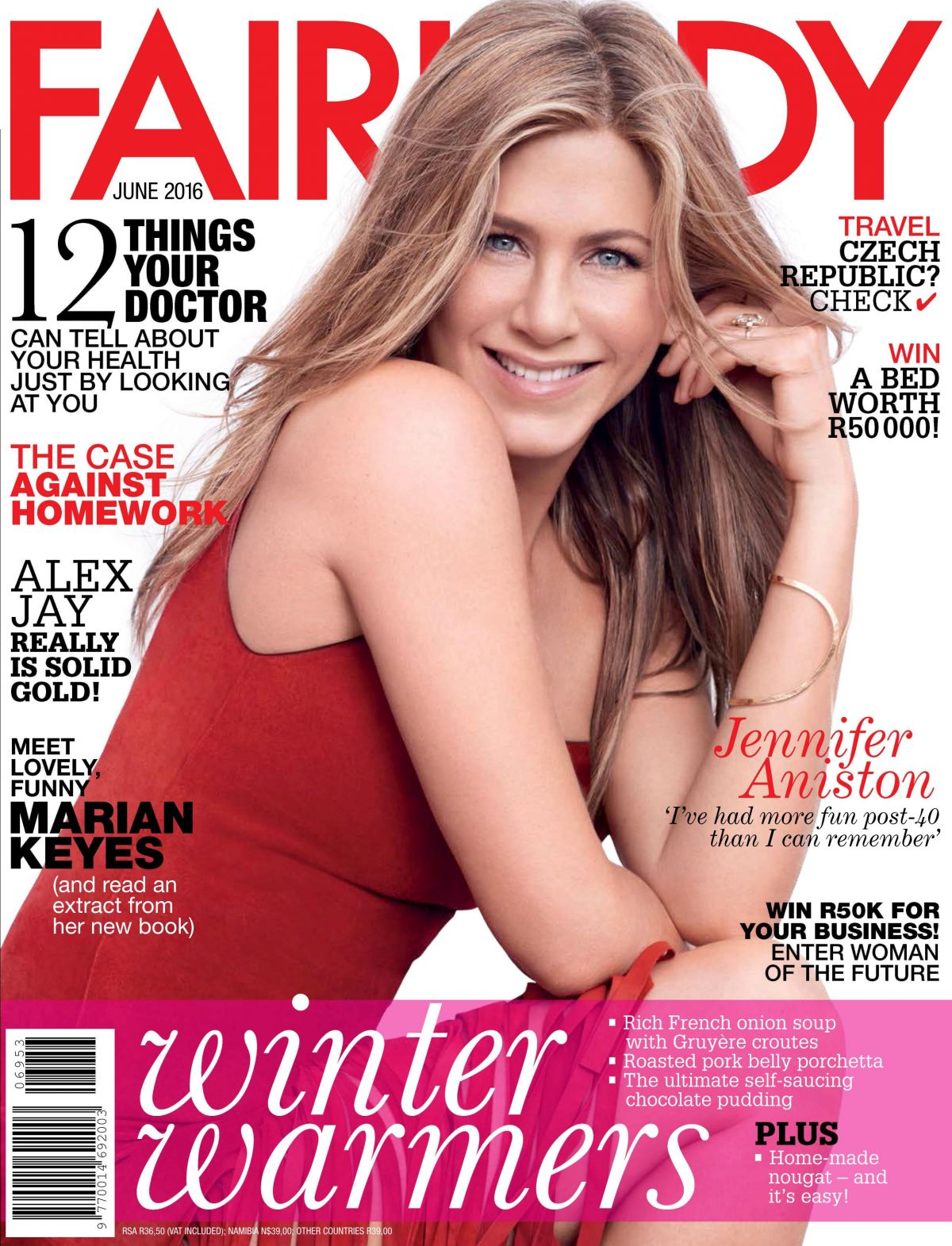 JENNIFER ANISTON in Fairlady Magazine, June 2016 Issue