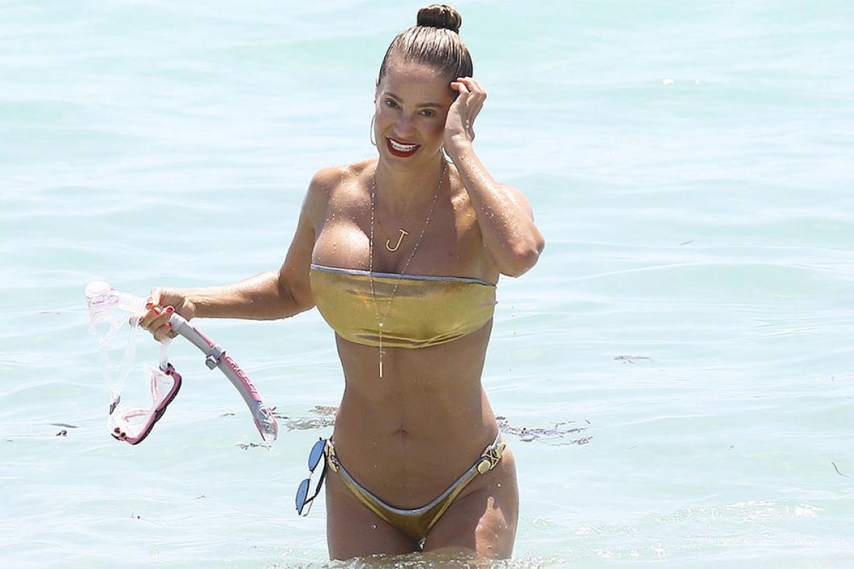 JENNIFER NICOLE LEE in Golden Bikini at a Beach in Miami, May 2016