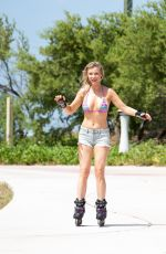 JOANNA KRUPA Out Rollerblading in Miami 05/02/2016