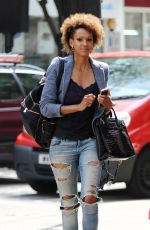 JUDITH SHEKONI in Ripped Jeans Out and About in London 05/12/2016