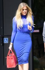 KHLOE KARDASHIAN in Blue Tight Dress Leaves a Studio in Van Nuys 05/11/2016